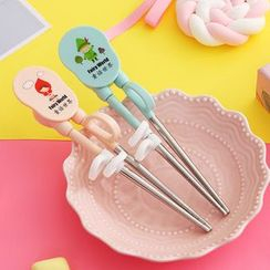 Worthbuy - Kids Cartoon Print Stainless Steel Chopsticks