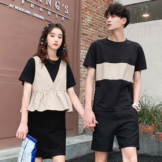 Azure - Couple Matching Short-Sleeve T-Shirt / T-Shirt Dress / Shorts / Vest / Set