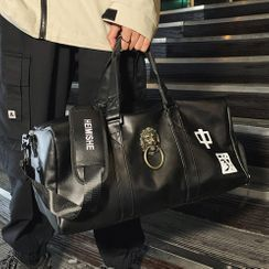 SUNMAN - Lettering Faux Leather Duffle Bag
