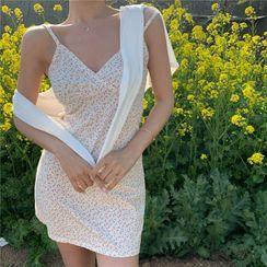 Conah - Spaghetti Strap Floral Print Mini Bodycon Dress / Open-Front Cardigan