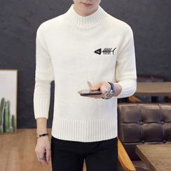 Boham - Mock-Neck Embroidered Sweater