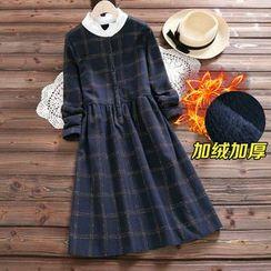 TOJI - Long-Sleeve Check Fleece-Lined Dress