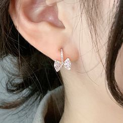Korrs - 925 Sterling Silver Rhinestone Bow Drop Earring