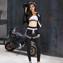 Yobra - Set: Contrast Trim Hooded Zip Jacket + Lettering Sports Bra + Drawstring Sweatshorts + Yoga Pants + Short-Sleeve Quick Dry T-Shirt