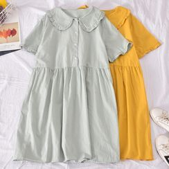 Dudu - Collared Short-Sleeve Shift Dress