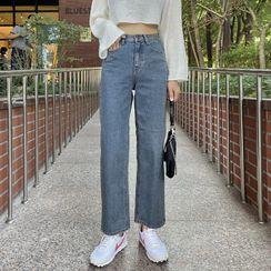 Seoul Fashion - Washed Straight-Cut Jeans