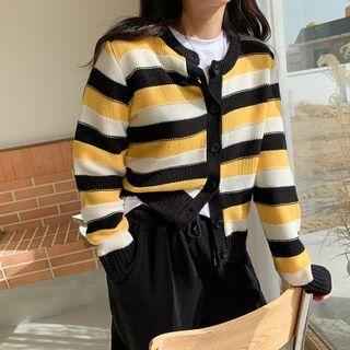 Envy Look - Round-Neck Vivid Striped Cardigan