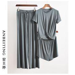 Anbeitin - Loungewear Set: Twist Short-Sleeve T-Shirt + Shorts + Wide-Leg Pants