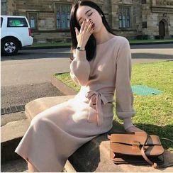 Apotheosis - 長袖開衩襬針織連衣裙