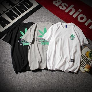 UIXX - Leaf Printed Short-Sleeved T-Shirt