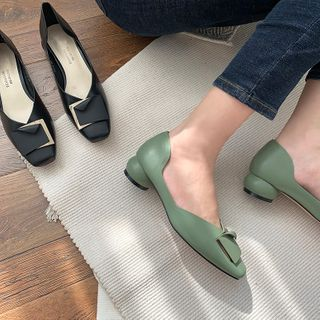 TAKEMEHOME Square-Toe Low Heel Pumps