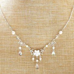 Paparazzi - Flower Pendant Rhinestone Drop Necklace