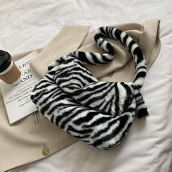 Tiff - Fluffy Zebra Print Shoulder Bag