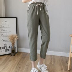 Happo - Drawstring-Waist Cropped Tapered Pants