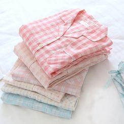 Dogini - Pajama Set: Gingham Shirt + Pants