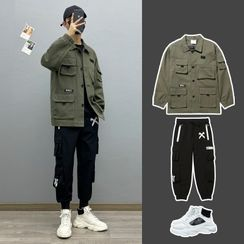 Avilion(アヴィリオン) - Plain Loose-Fit Jacket / Long-Sleeve Two-Tone Lettering T-Shirt / Print Cargo Pants