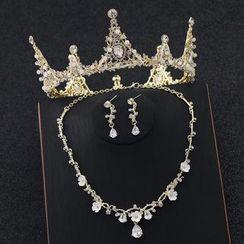 la Himi - 婚礼套装: 仿珍珠皇冠 + 项链 + 耳坠