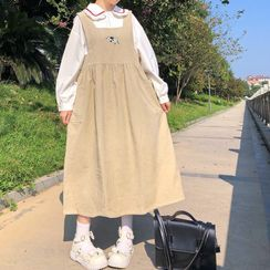 Clotizen - Long-Sleeve Frill Trim Blouse / Embroidered Midi A-Line Corduroy Pinafore Dress