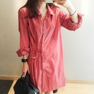 Champi - Plain Long-Sleeve Shirt Dress