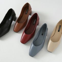HOTPING - Square-Toe Block-Heel Pumps