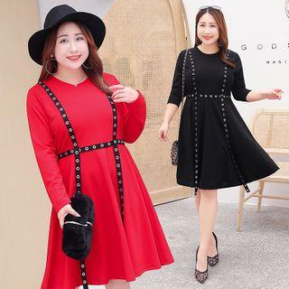Tripoly - Contrast Trim Long-Sleeve A-Line Dress