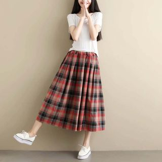 Elisah - Plaid A-Line Midi Skirt