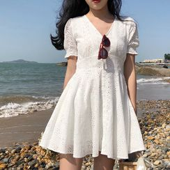 Heartsily - Short-Sleeve Mini A-Line Lace Dress