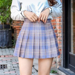 Niji Smile - Mini Pleated Plaid Skirt