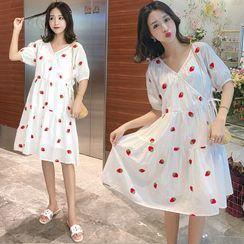 Mamaladies - Maternity Short-Sleeve Strawberry Print Dress