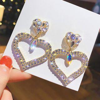 Catalunya - Rhinestone Heart Dangle Earring