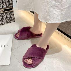 GRUNE - Crisscross Fleece Slippers