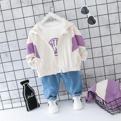 Mini Bae - Kids Set: Zip Hoodie + Letter Print T-Shirt + Distressed Jeans