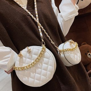 Kunado - Faux Leather Circle Crossbody Bag