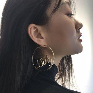 Seirios - Alloy Lettering Hoop Earrings