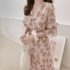 Brigitte - Elbow-Sleeve Floral Print Midi Chiffon Dress