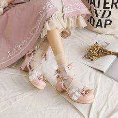 佳美 - 荷叶边蝴蝶结粗跟凉鞋