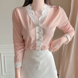 MyFiona - Lace-Trim Faux-Pearl Blouse