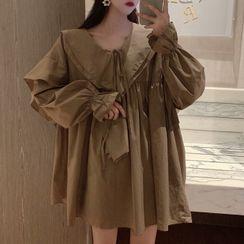 Natta - Long-Sleeve Ruffled Mini Babydoll Dress