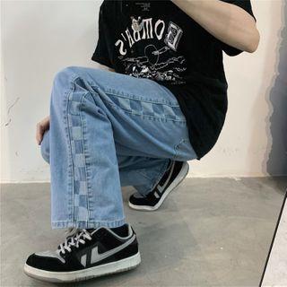 Porstina(ポルスティナ) - Checkerboard Panel Wide-Leg Jeans
