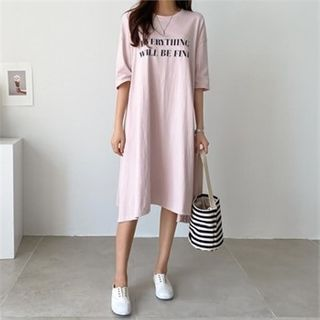 PIPPIN - Elbow-Sleeve Letter Print T-Shirt Dress