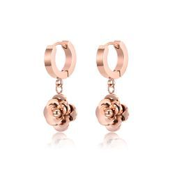 BELEC(ベレック) - Fashion and Elegant Plated Rose Gold Camellia 316L Stainless Steel Earrings
