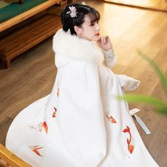 Tangier - Fluffy Trim Embroidered Cape