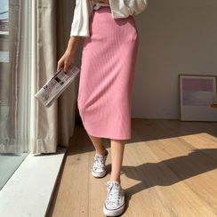 DEEPNY - Ribbed Long H-Line Skirt in 13 Colors