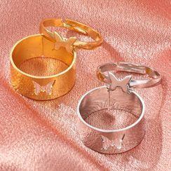 Mulyork - 情侣款套装: 蝴蝶开口戒指