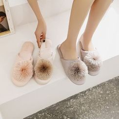Furana - Pompom Accent Indoor Slippers