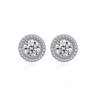 BELEC - Sterling Silver Elegant Shining Geometric Round Cubic Zirconia Stud Earrings