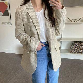 Seoul Fashion(ソウルファッション) - Single-Breasted Plaid Blazer