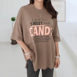 Seoul Fashion - Round-Neck Letter Print T-Shirt
