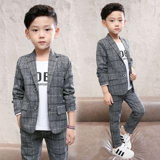 Pegasus - 童裝套裝: 格子飾鈕扣西裝外套 + 西褲