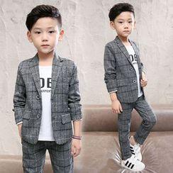 Pegasus - 童装套装: 格子饰钮扣西装外套 + 西裤